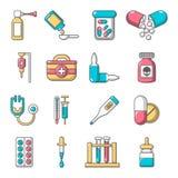 Drug medicine icons set, cartoon style. Drug medicine icons set. Cartoon illustration of 16 drug medicine icons set vector icons for web Royalty Free Stock Photos
