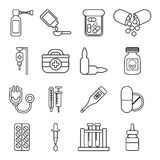Drug medicine icons set, outline style Stock Photo