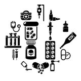 Drug medicine icons set, simple style. Drug medicine icons set. Simple illustration of 16 drug medicine icons set vector icons for web Royalty Free Stock Photo