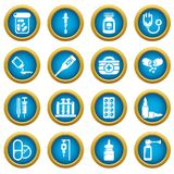Drug medicine icons set, simple style. Drug medicine icons set. Simple illustration of 16 drug medicine icons set vector icons for web Royalty Free Stock Photos