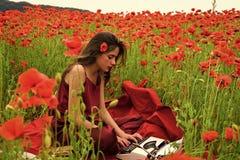 Free Drug, Narcotics, Opium, Woman With Typewriter, Camera, Book. Stock Photo - 134467780