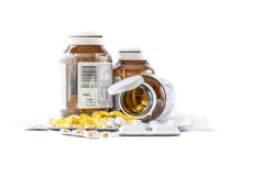 Drug. Nutritional supplement capsules and containers. Variety of drug pills ,  on white background Stock Photos