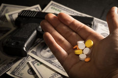 Drug pills in hand. Stock Image