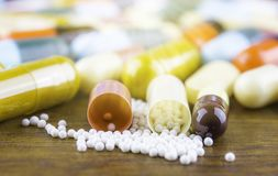 Drug prescription for treatment medication. Pharmaceutical medicament, cure in container for health. Pharmacy theme, capsule pills Royalty Free Stock Photography