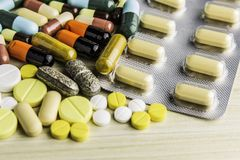 Drug prescription for treatment medication. Pharmaceutical medicament, cure in container for health. Pharmacy theme, capsule pills Stock Images