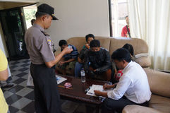 Drug raid. Police conducted a drug raid at a motel in Karanganyar, Central Java, Indonesia to suppress crime Royalty Free Stock Images