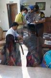 Drug raid. Police conducted a drug raid at a motel in Karanganyar, Central Java, Indonesia to suppress crime Royalty Free Stock Photo