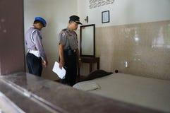 Drug raid. Police conducted a drug raid at a motel in Karanganyar, Central Java, Indonesia to suppress crime Royalty Free Stock Image