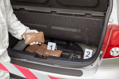Drug smuggling. Drug bundles smuggled in a car trunk Stock Image