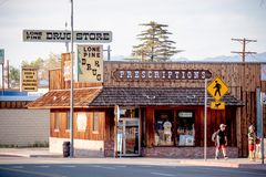Drug store in the historic village of Lone Pine - LONE PINE CA, USA - MARCH 29, 2019. Drug store in the historic village of Lone Pine - LONE PINE CA, UNITED stock photos