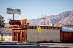 Drug store in the historic village of Lone Pine - LONE PINE CA, USA - MARCH 29, 2019. Drug store in the historic village of Lone Pine - LONE PINE CA, UNITED stock image