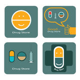 Drug store icons set Royalty Free Stock Images