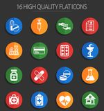 Drug store 16 flat icons. Drug store web icons for user interface design royalty free illustration