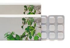 Drug: tablets in a package on a white background. Royalty Free Stock Photography