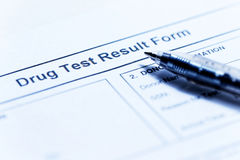 Drug test blank form. With pen Royalty Free Stock Photos