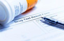 Drug test blank form. With Variety of medicines Stock Images