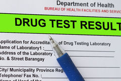 Drug test result Stock Photo