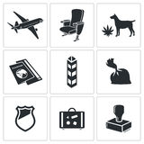 Drug trafficking icon set Stock Photos