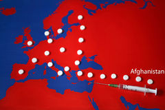 Drug trafficking - with title Afghanistan. Map with drugs. Drugs road from Afghanistan through Turkey and Balkans to central and west Europe Royalty Free Stock Photo