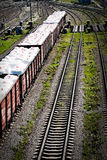 Drug trafficking. White bags with drug in a wagons - abstract concept probably drug trafficking at railroad Stock Photos