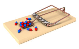 Drug trap. Drugs in Mousetrap. High quality 3d render Stock Image