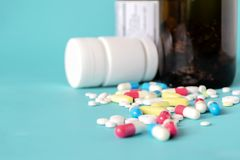 Drug for treatment medication.cure in container for health. royalty free stock image