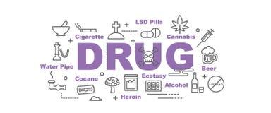 Drug vectorbanner royalty-vrije illustratie