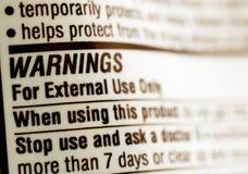 Drug warning label. Close up of drug warning label Stock Photography