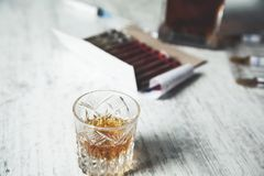 Drug with whiskey royalty free stock images