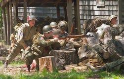 Druga Wojna Światowa Zwalcza Reenactment Zdjęcia Royalty Free