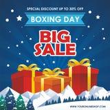Drugi Dzień Świąt Bożego Narodzenia sprzedaży projekt z prezentów pudełkami, Papierową torbą i śnieżnym krajobrazem, ilustracja wektor