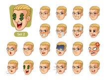 Drugi set męskie twarzowe emocje z blondynka włosy Obraz Stock