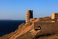 Drugich Wojn Światowa Niemieckie fortyfikacje na Dżersejowej linii brzegowej Obraz Royalty Free