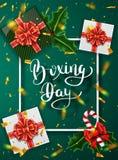 Drugiego dnia Świąt Bożego Narodzenia sztandaru projekt Literowanie kaligrafia Nowy Rok wakacje, tradycje Prezentów pudełek odgór royalty ilustracja