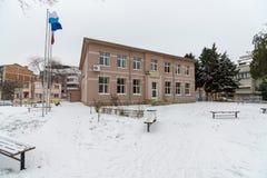 Drugorzędna profesjonalna szkoła w zimie Bułgarski Pomorie Zdjęcia Royalty Free