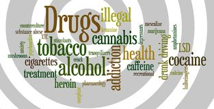Drugs. Overview of relevant and important topics regarding drugs Royalty Free Stock Images