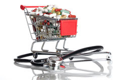 Drugs. Shopping Cart full with pills and capsules Royalty Free Stock Images