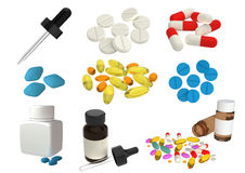 Drugs. Drug Tablets, capsules, and eyedropper isolated on white background Stock Photos