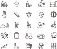 Drugs and addiction icons. Set of outline drugs and addictions icons on a white background Stock Photo