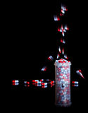 Drugs addiction. Isolated on black background Royalty Free Stock Photo
