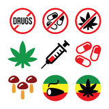 Drugs, addiction, marijuana, syringe colorful icons set Stock Photos
