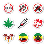 Drugs, addiction, marijuana, syringe colorful labels set. Vector labels set - different types of drugs isolated on white Royalty Free Stock Photos