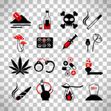 Drugs and alcohol addiction icons Royalty Free Stock Photos