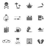 Drugs Black White Icons Set Royalty Free Stock Photo