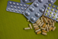 Drugs capsule and pill medicine. Assorted pills Royalty Free Stock Photo