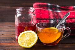 Drugs for colds - pills, spray. Folk remedies - lemon, tea, raspberry jam. Thermometer, handkerchiefs. Treatment of illness, influ Royalty Free Stock Images
