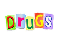 Drugs concept. Illustration depicting cutout printed letters arranged to form the word drugs Stock Images