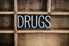 Drugs Concept Metal Letterpress Word in Drawer Royalty Free Stock Photos