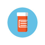 Drugs container flat icon. Round colorful button, Medicines jar circular vector sign, logo illustration. Royalty Free Stock Photography