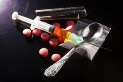 Drugs on Dark Stock Image